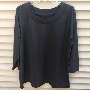 Susan Graver Essentials black 3/4 sleeve top tee